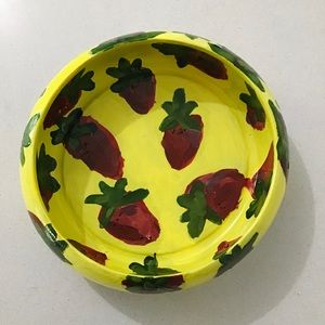 Hand painted Wooden Yellow Fruit Bowl Strawberry